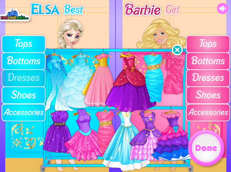 game elsa vs barbie ai mac sanh dieu hon hinh anh 2